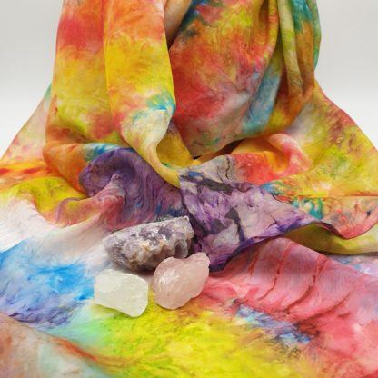 Handgeschilderde zijden regenboog chakra doek, Kleur & Zijde