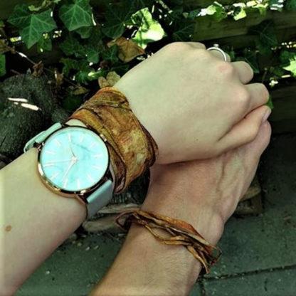Smal zijden lint als armband