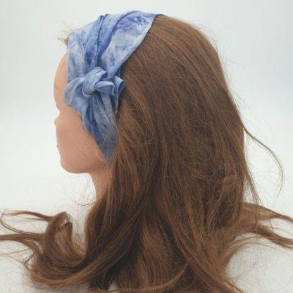 DenimBlauw, zijden haarlint, 150 x 10 cm