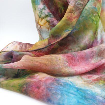 Kleurrijk, handgeschilderde zijden sjaal, 230x52 cm