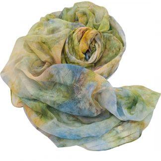 Sprankelend, handgeschilderde zijden sjaal, 220 x 110 cm (2)